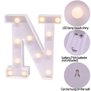 Image 5 - Led inglês carta luz da noite alfabeto bateria marquise sinal número lâmpada interior casa culb diy festa de aniversário casamento decoração