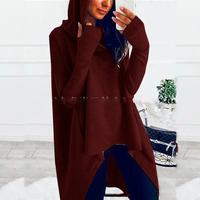 Nice Women Fashion Warm Hooded Sweatshirt Autumn Winter Solid Irregular Hoodies Casual Long Sleeve Pockets Long Hoodies