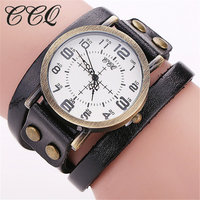 CCQ Brand Vintage Cow Leather Bracelet Wristwatches Luxury Casual Women Quartz Watch Relogio Feminino For Gift Clock