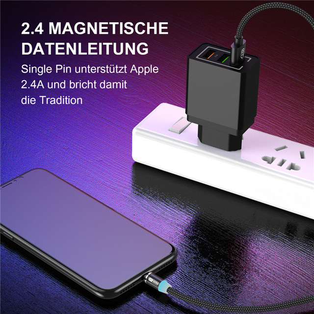 GTWIN Magnetic Cable Micro USB Type C Charger For iPhone Samsung Xiaomi 3M Magnet USB Cable Fast Charging Phone Charge Cord Wire 3
