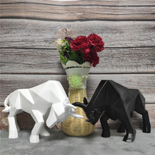 Cattle Statue Figurine Modern Abstract Geometric Style Resin Black  Animal Large Home Decoration Accessories