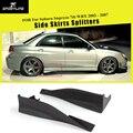 Черная праймер из искусственной кожи  Неокрашенная  для авто  Короткие боковые юбки  фартуки  Защита бампера для Subaru Impreza 7th WRX  2002-2007