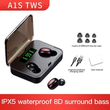A1S TWS Bluetooth 5.0 Headset Stereo Earphone Wireless Headphone Sports Headset for Xiaomi Samsung Smartphone sports wireless bluetooth headphone bone conduction stereo headset bt 4 1 neck strap earphone hands free earpiece for smartphone