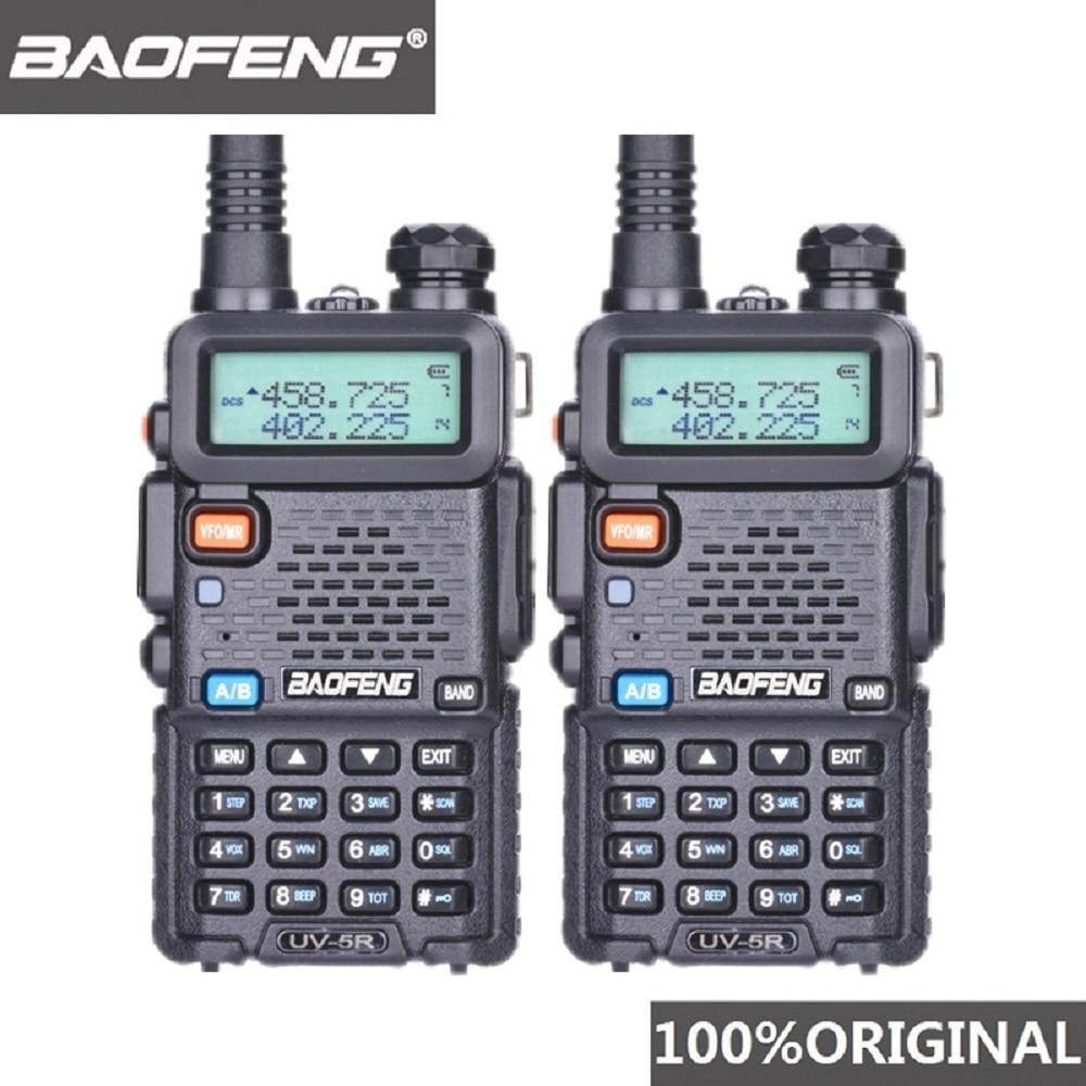 2Pcs Baofeng UV 5R UHF VHF Walkie Talkie Dual Band Two Way Radio Comunicador Car Station PTT UV-5R Woki Toki