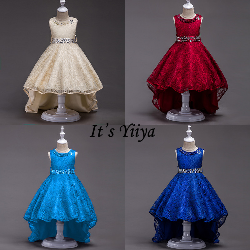It's YiiYa   Flower     Girl     Dresses   6 Colors Sleeveless Fashion O-Neck Court Train   Dresses     Girls   Pageant Lace Kids Party   Dresses   L093
