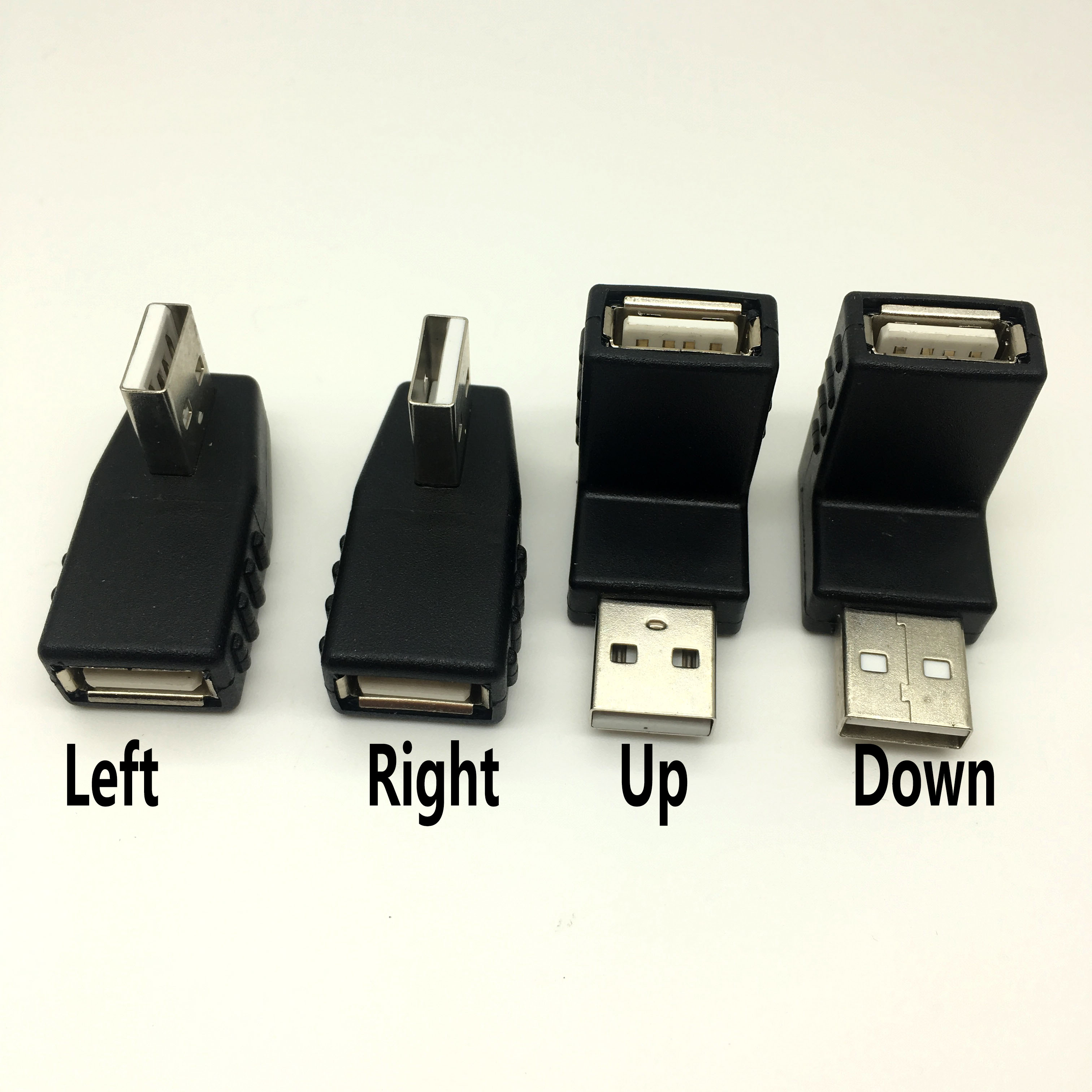 Left/Right/UP/Down Angle 90-Degree USB 2.0 Male 90 Angled USB Female To Male Adapter Cable