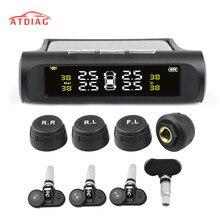 Güneş enerjisi USB TPMS araba lastik basıncı izleme sistemi LCD 4 harici/dahili sensör SUV için sıcaklık uyarısı
