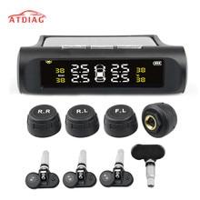 שמש כוח USB TPMS רכב צמיג לחץ ניטור מערכת LCD 4 חיצוני/פנימי חיישנים עבור SUV טמפרטורת אזהרה