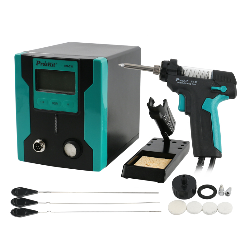 Pro'sKit SS-331B LCD Electric Desoldering Gun Vacuum Solder Sucker Soldering Iron Gun For PCB Board Soldering Repair