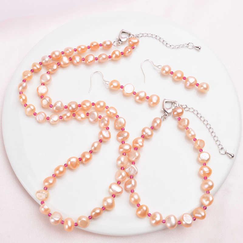 ASHIQI Barocco Naturale Set di Gioielli di perle Collana di perle D'acqua Dolce Reale Naturale di Cristallo Braccialetto per le donne Nuovo Arrivo
