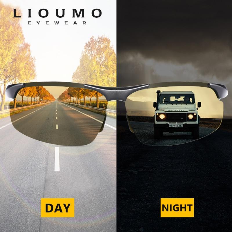 Aluminum Magnesium Photochromic Sunglasses Men Polarized Day Night Vision Driving Eyewear Women Discoloration Chameleon Glasses