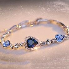 Voor Nieuwe Ketting Armbanden & Bangles Sliver Kleur Blauw Hartvormige Zirkoon Ingelegd Rhinestone Vorm Armband Dropshipping