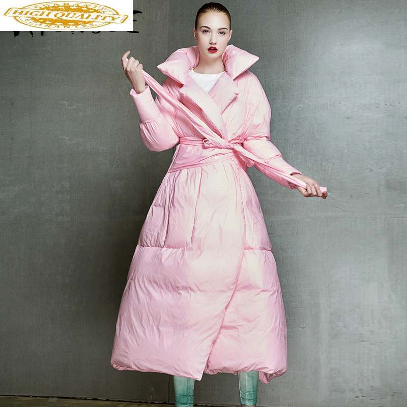 2019 New 90% White Duck Down Jacket Women Korean Long Puffer Jacket Winter Coat Women Elegant Warm Parka DZ915001 YY1631