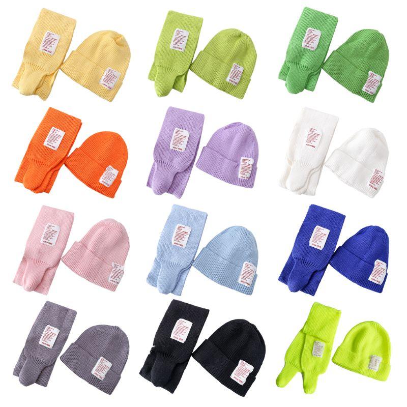 2Pcs Kids Baby Winter Hat Long Scarf Set Candy Color Letters Patch Beanie Cap