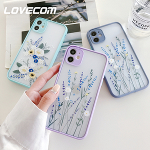 LOVECOM Cute Flower Leaf Phone Case For iPhone 11 Pro Max XR XS Max 6 7 8 Plus X Soft TPU Hard PC Luxury Color Back Cover Coque(China)