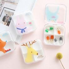 1pc portátil vazio drogas caixa dos desenhos animados 4 compartimentos mini bonito pílula caixa de medicina caso para carem saudável pillbox