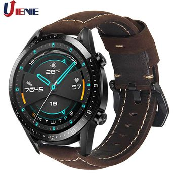 22mm Leather Watchband Strap for Huawei Watch GT /GT 2 /gt 2e /Active Smart Watch Wristband for Huami Amazfit GTR 47mm /gt2 Band