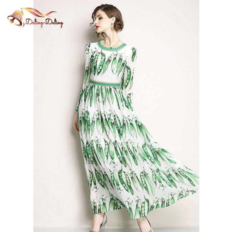 2019 nouveau Designer de piste Boho robe femmes à manches longues Vintage pois Pod impression vert en mousseline de soie longue robe grande balançoire robe de soirée