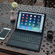 цена на 9 - 10.1 inch Magnetic Detachable Bluetooth Tablet Keyboard For iPad Huawei Samsung Lenovo Universal Keyboard Case with Touchpad