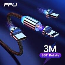 FPU מגנטי מיקרו USB סוג C כבל עבור iPhone סמסונג Xiaomi מהיר טעינת כבל מגנט מטען אנדרואיד נייד טלפון כבל 3m