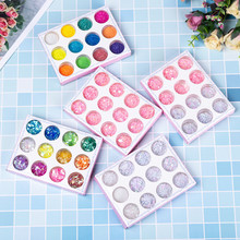12 Grids/Sets Nail Glitter Sequin Mixed Mirror/love Heart/star Moon DIY Flake Paillette Nail Art Jewelry Decoration Accessories недорого