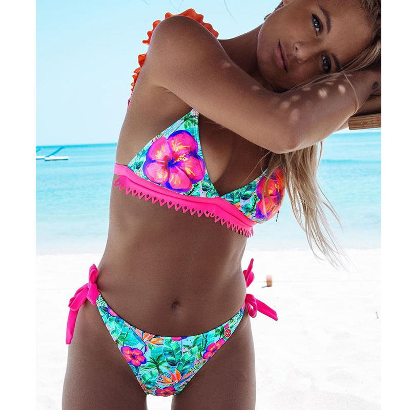 2020 Sexy Floral Print Bikini Swimwear Women Swimsuit Ruffle Bikini Set Brazilian Bathing Suits Summer Beach Wear Swimming Suit