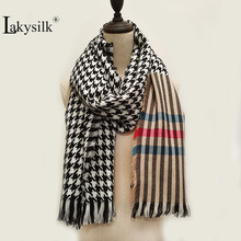 Lakysilk New Top Quality Plaid Striped Women Scarf Winter Wa
