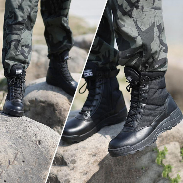Men Outdoor Military Tactical Combat Boots Breathable Oxford Wear Resistant Waterproof Boot Non-Slip Desert Climbing Sports Shoe 4