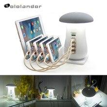 Multi 5 Port Charging Dock Tablet Qc 3.0 Quick Charge Desktop Station Lamp Meerdere Usb Snelle Telefoon Oplader Eu Ons uk Au Plug Gift