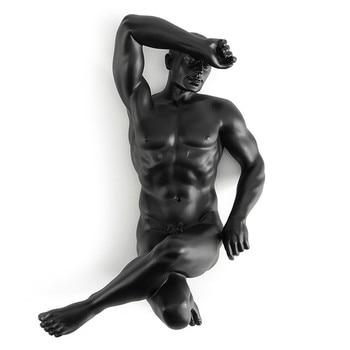 Resin Naked Man Sculpture Modern Body Art Home Wine Cabinet Craftwork Statue Office Desk Ornaments Birthday Gift M5234