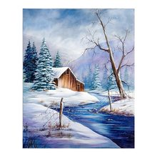 snow landscape in winter Diamond Painting Cross Stitch Full Round New DIY home decorative house scenic river Mosaic Embroidery