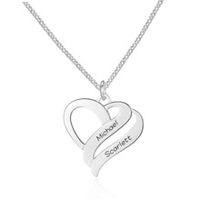 Personalized Engarved Name Pendant Necklaces Overlapping Heart Custom Jewelry For Couple Lover