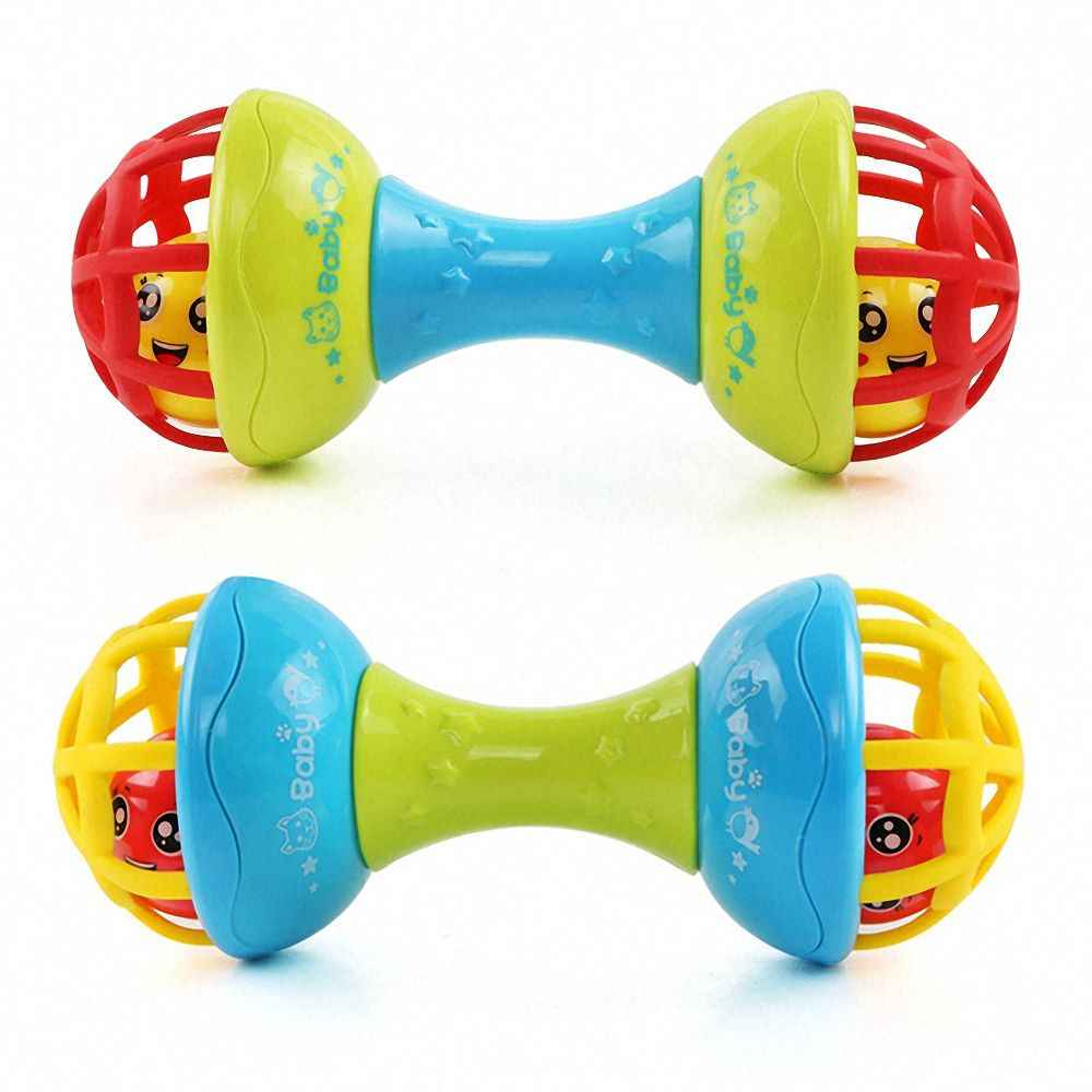 1pc Baby Rattles Interactive Toy Soft Rubber Dumbbell for Children Infant Toddler Early Education Puzzle Hand Grab Ball Boy Girl