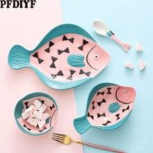 Японский керамический набор посуды, ручная роспись, креативная тарелка для рыбы, домашнее блюдо, мультяшная форма, миска для риса, ложки, кухонные принадлежности