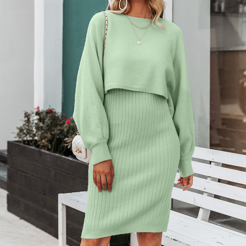 2021 Autumn Knitted Sweater O Neck Bateing Sleeve Two Pieces Women Warm Sweater And Pullover With Dress Femme Tricot Pull Femme 1
