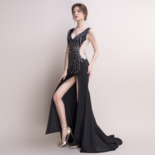 Sexy Mermaid Evening Dress Long Black Prom Party Dresses Women Elegant Beaded High Split Formal