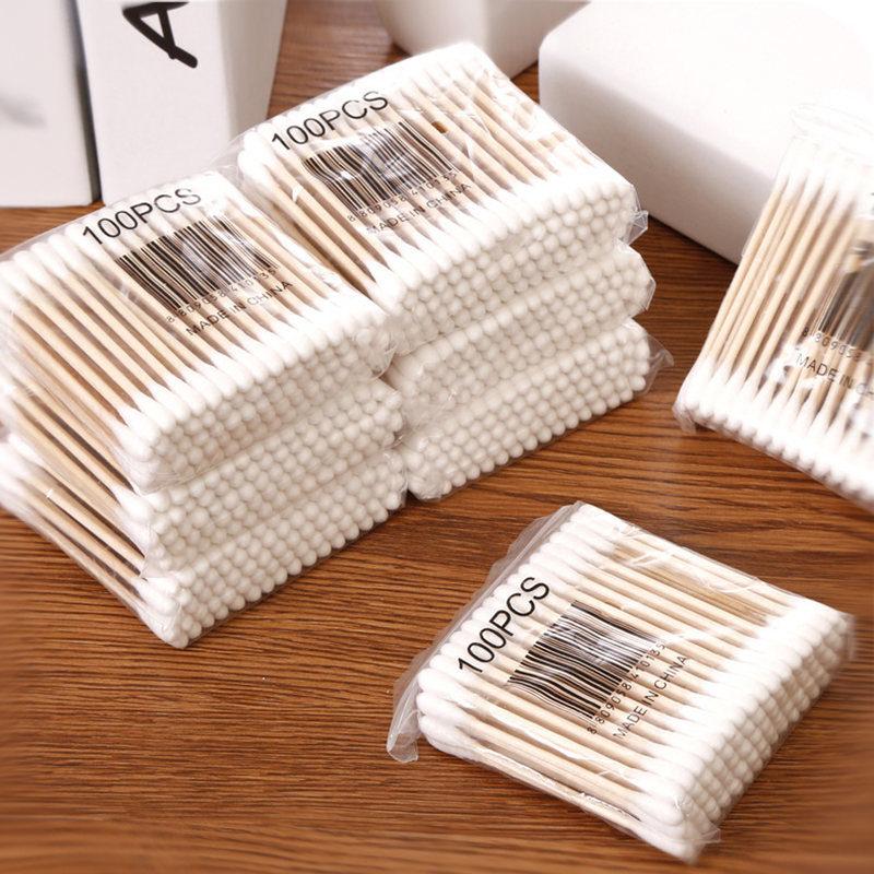 100pcs/ Pack Double Head Cotton Swab Baby Women Infant Cotton Buds Tip For Medical Wood Sticks Nose Ears Cleaning Health Care