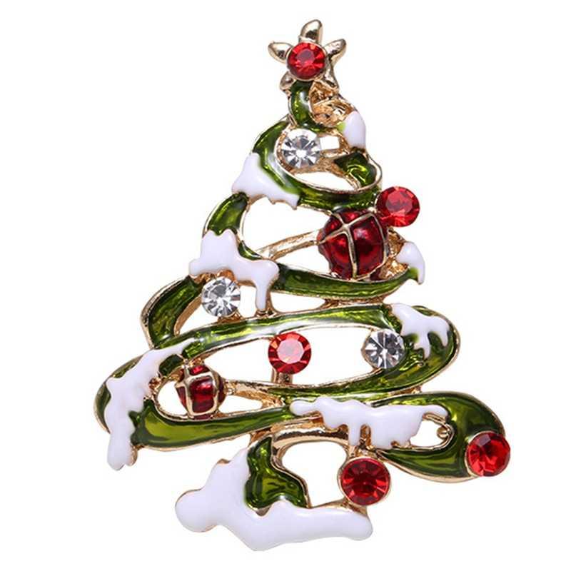 Noel Emaye Kardan Adam Çorap Santa Noel Ağacı Broş Pin Noel Hediyeleri Kadınlar Erkekler Broş Charm Kristal Rhinestone