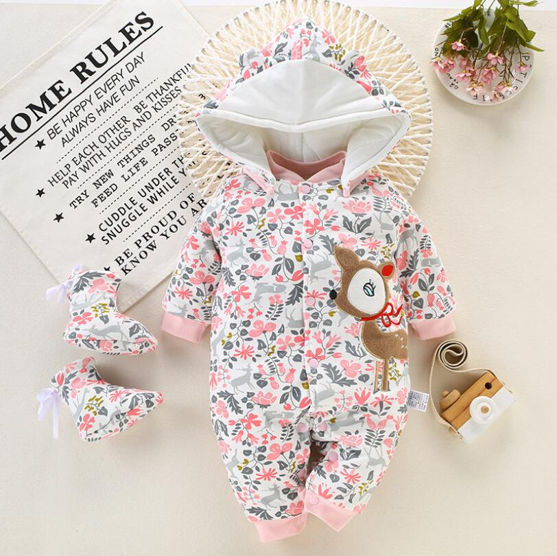 BibiCola Newborn Baby Warm Rompers Infant Baby Winter Thicken Jumpsuit Toddler Long Sleeve Cartoon Outing Clothing Baby Overalls