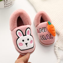 Cartoons Kids Slippers Cute Baby Shoes тапочки детские Home Footwear Fur Rabbit Winter Flock Warm Animals Frog Bear Covered Heel(China)