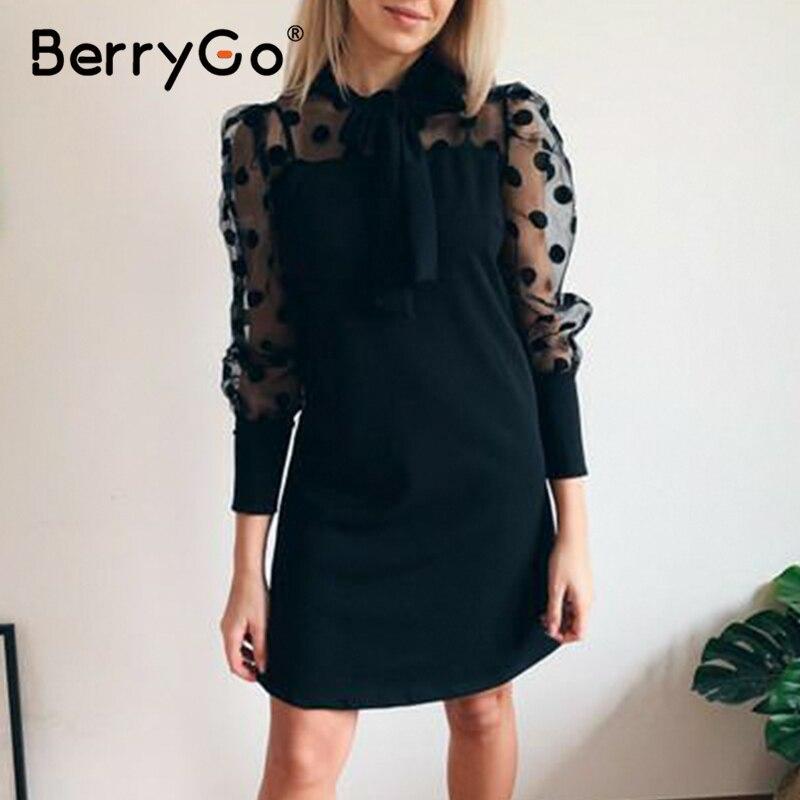 BerryGo Black Tie Polka Dot Party Dress Women Elegant Mesh Long Sleeve Summer Dress Work Wear Office Dress Vestidos 2020 Spring