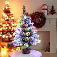 20Inch Christmas Pine Tree On Round Wooden Base With Battery Powered LED String Light Xmas Holiday Gift Tabletop Decor