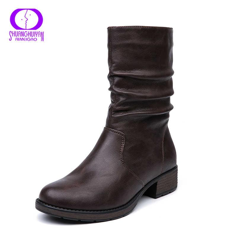 AIMEIGAO/теплая флисовая обувь; зимние ботинки из мягкой кожи коричневого цвета на молнии; Женская водонепроницаемая обувь на низком каблуке; женские ботинки на плоской подошве