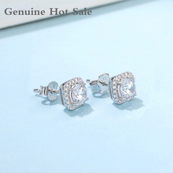 925 Sterling Silver Moissanite Earrings 1ct D Color Excellent Cut Lab Grown Diamond Silver Earrings Fashion Jewelry Woman Gift