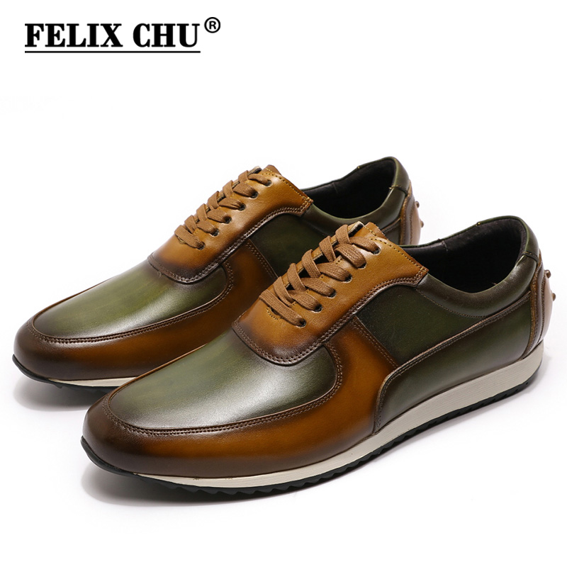 Big Size 15 Mens Style Casual Shoes Genuine Leather Hand Painted Oxford Brown Green Lace-Up Fashion Street Photos Men's Flats