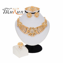 Bracelet Nigerian MUKUN Earrings-Ring Jewelry-Sets Necklace Crystal African Fashion Charm