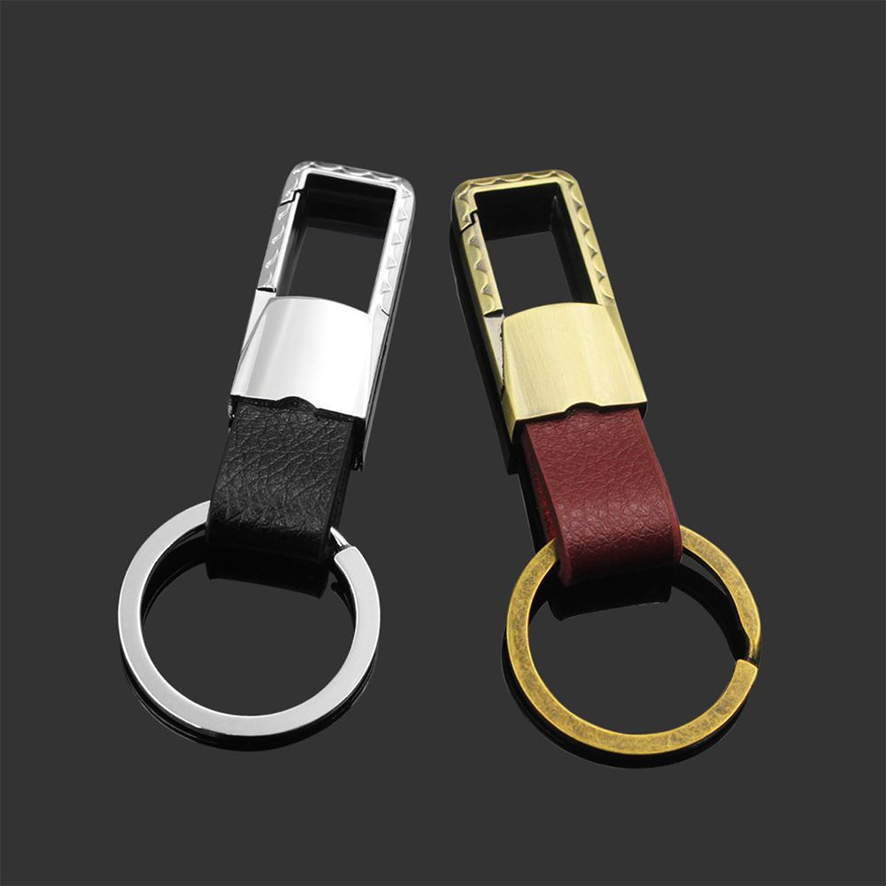 Yfashion Car Key Ring Keychain Metal Men Leather Cover Chain Auto Motorcycle Accessories
