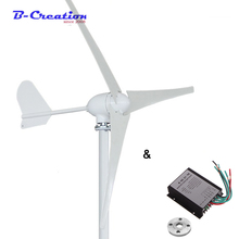 500W horizontal wind turbine generator 12V/24V/48V 3/5 blades windmill  home use + 600w waterproof wind charger controller