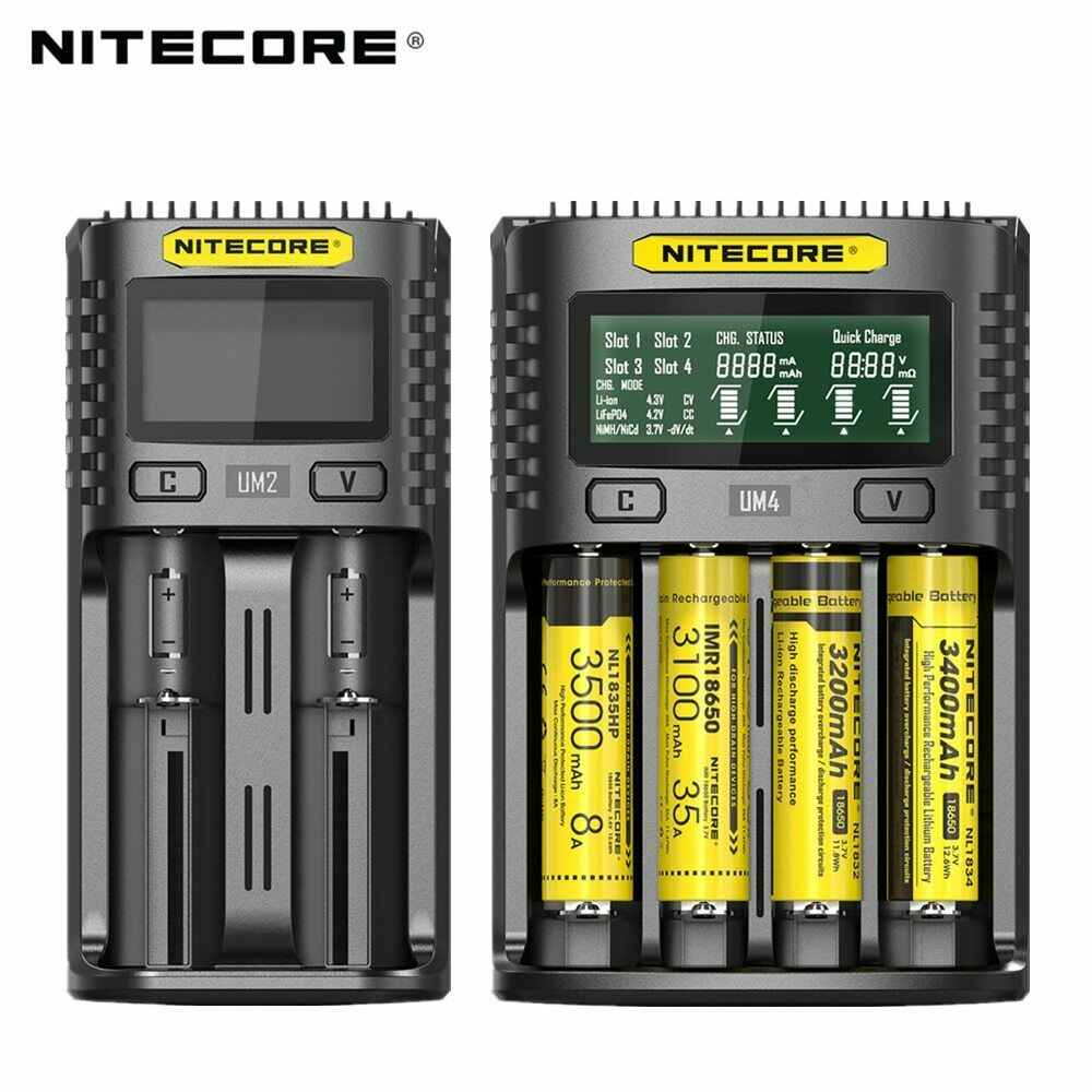 100% الأصلي Nitecore UM4 UM2 USB QC شاحن بطارية ذكي الدوائر العالمية التأمين ليثيوم أيون AA AAA 18650 21700 26650