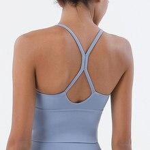 X-macio nude esportes sutiã de volta cruz yoga sutiã push up à prova de choque de fitness ginásio sutiãs de fitness topos de colheita feminino simples yoga treino sutiãs